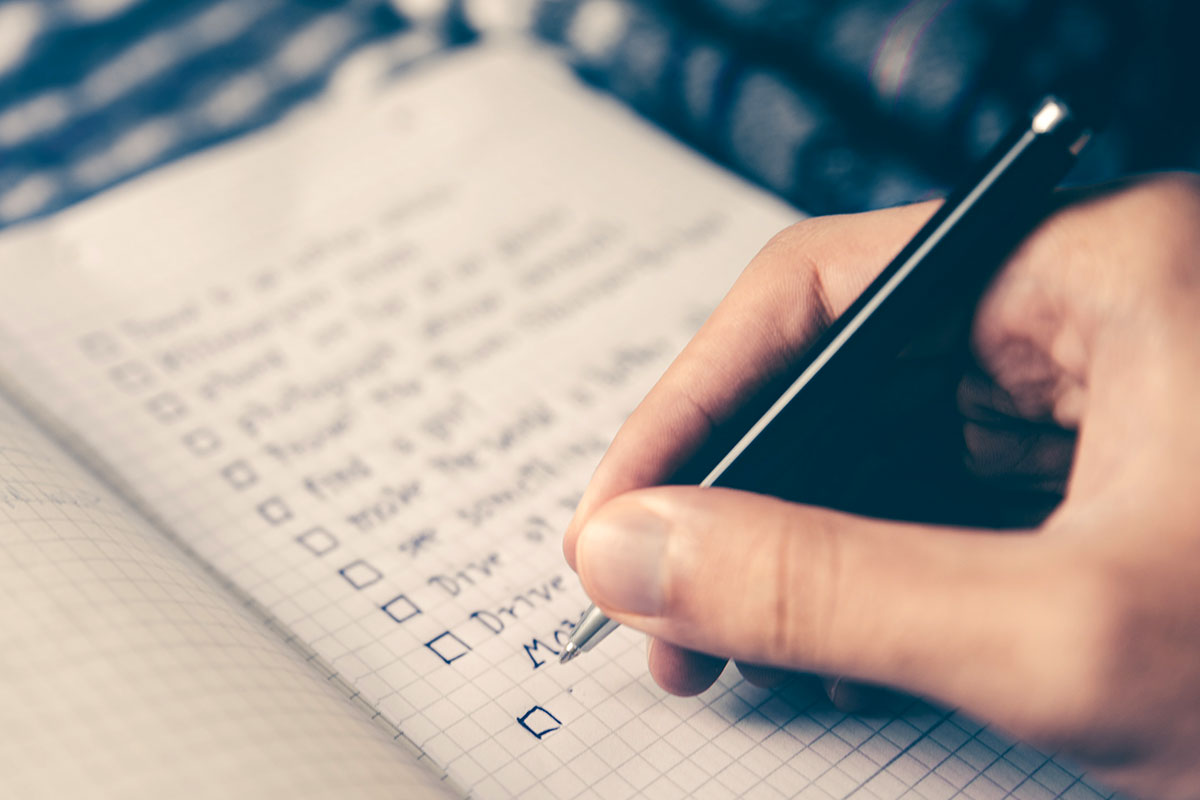 Hand writing checklist
