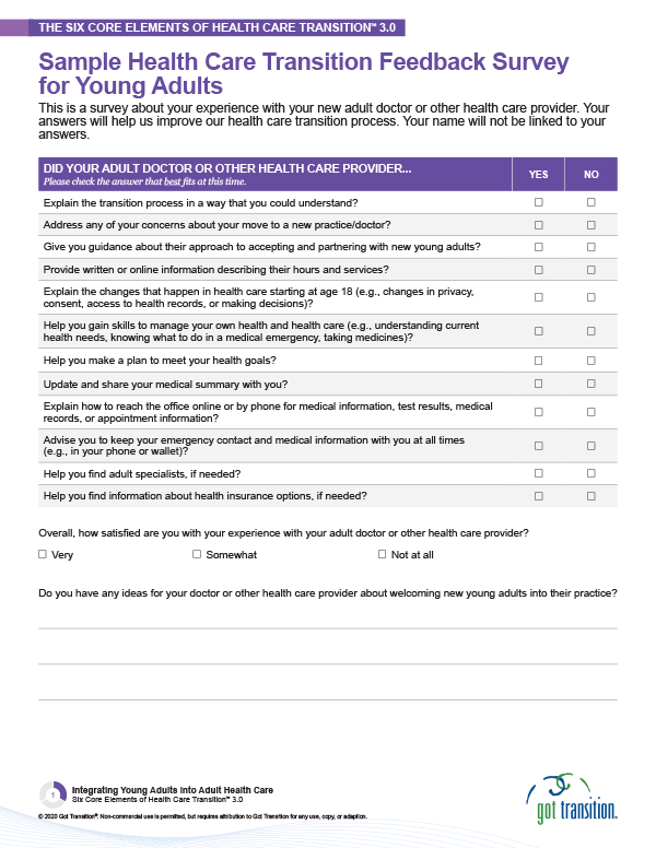 Sample Health Care Transition Feedback Survey for Young Adults Thumbnail